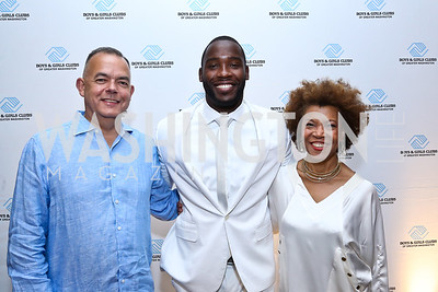 BGCGW Chief Development Officer Paul Alagero, Pierre Garçon, BGCGW President and CEO Pandit Wright. Photo by Tony Powell. Pierre Garçon's 2nd annual All-White Charity Event. Millenium building rooftop. June 5, 2014