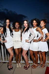 Washington Wizards Dancers Amber Uribe, Jonique Holcomb, Joanna Zimmerman, Jalina Porter, Jackie Chiao. Photo by Tony Powell. Pierre Garçon's 2nd annual All-White Charity Event. Millenium building rooftop. June 5, 2014