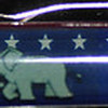 Back:  Republican Pride<br /> Front:  Stars and Stripes <br /> Floater: elephant w/American Flag<br /> Style: Classic<br /> Color: blue clear<br /> Cost: $6.50<br /> Category: History & Politics