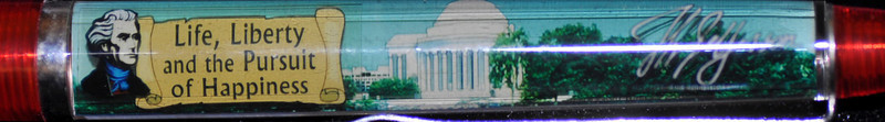 Back:  Jefferson Memorial, 3rd President, 1801-1809, Wash DC<br /> Front:  Jefferson Memorial, picture and signature <br /> Floater: Life, Liberty and the Pursuit of Happiness <br /> Style: Classic<br /> Color: red clear<br /> Cost: $6.50<br /> Category: History & Politics