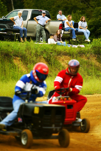 Saturday afternoon lawnmower races have become a popular family outing in rural Hickman County, Tennessee.