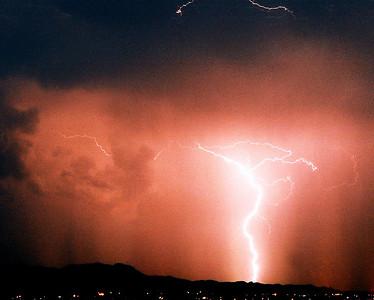 Monsoon Lightning over Tucson Mountains, Arizona