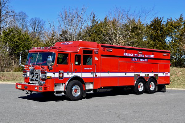 Rescue 522 is this sharp 2017 Pierce Arrow XT, sn- 30681..  Equipped with a walk-in body that is used to carry equipment.  This unit will run as Rescue 504 until the completion of FS 22 (Groveton) in 2019.