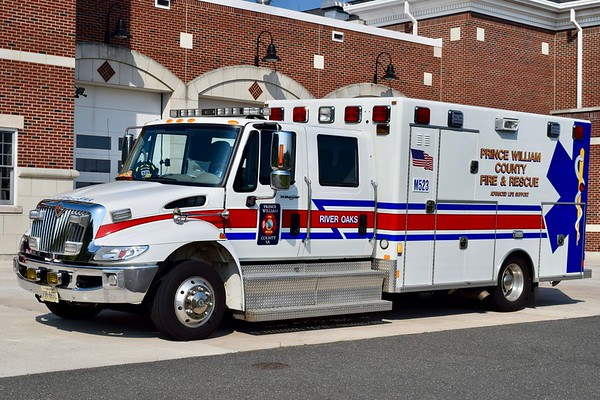 River Oaks Medic 523B, a 2007 International 4300/Excellance.  One of two similar units.  Former Dumfries Triangle Rescue Squad.  Turned over to the County in 2016.