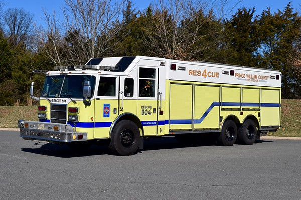 Rescue 504 is this 2006 Pierce Dash.  R504 was the first 24 hour staffed specialty piece in Prince William.  ex-Gainesville District VFD, used to have a small pump and tank, which were removed several years ago.