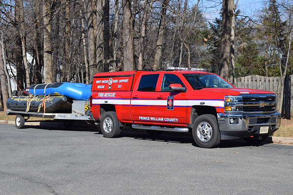 Station 17 is one of three Swiftwater stations across the County.  SW517 utilizes this 2015 Chevy Silverado/FastLane to carry equipment and tow the boat trailer.