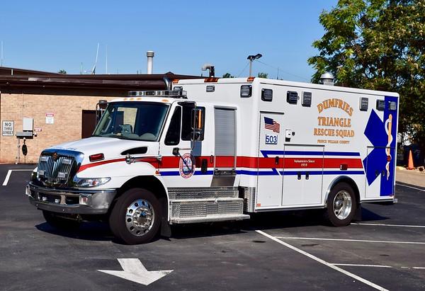 Dumfries Rescue's Ambulance 503, a 2015 International/Horton.  One of two similar units.