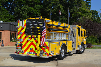 A back end view of OWL's Engine 502, a 2015 Seagrave.