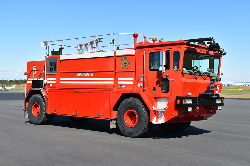 "Operational October 1, 2018 at the Manassas Regional Airport in Manassas, Virginia is ""Red 5"", a 1995 Oshkosh T1500 1250/1500/210 as well as 500 pounds of Purple K.  Received from a fire apparatus dealer, a private government contractor at the airport uses the crash truck .  Red 5 was originally delivered to the Rochester, New York (Monroe County) International Airport and was one of two delivered."