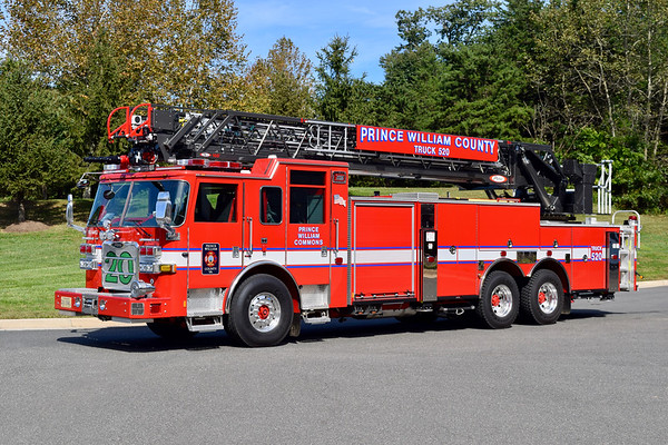Truck 520 is a nice 2018 Pierce Arrow XT, 105', sn- 32030.  Photographed the day it was placed in service.