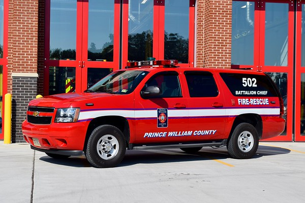 Battalion Chief 502 is a 2013 Chevy Suburban/FastLane.  BC 502 runs from FS 26.  BC 502 primarily covers Stations 6 (Coles), 13 (Hillendale), 14 (Lake Ridge), 17 (Montclair), 18 (Princedale), and 26 (Davis Ford).