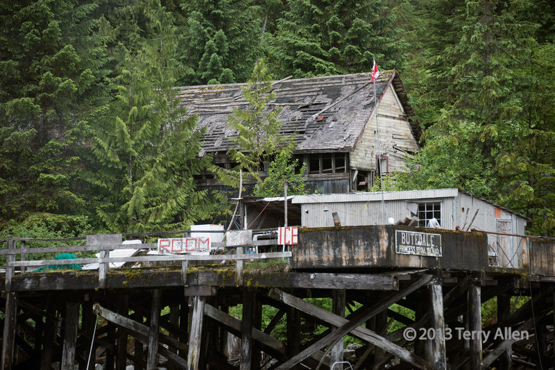Butedale wharf and ruined buildings, Princess Royal Island, mid-coast British Columbia