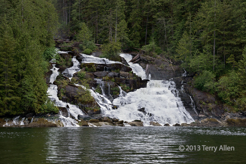 Butedale Falls, which flows out of Butedale Lake, Princess Royal Island, mid-coast British Columbia