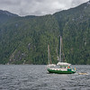 Sai boat on the Inside Passage, northwest of Butedale, Princess Royal Island,  mid-coast British Columbia