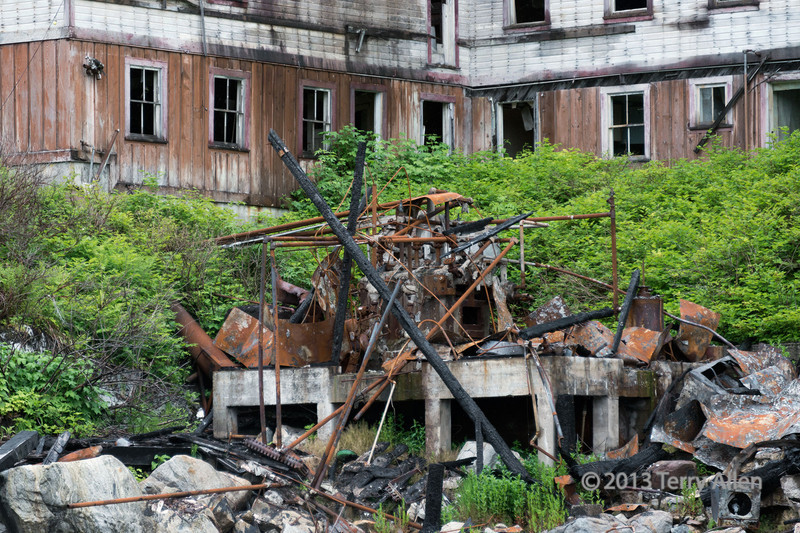 """Hotel and bunkhouse (the largest and best preserved building) with burned remains of general store (?), Butedale, Princess Royal Island, British Columbia<br /> <br /> For other photos of this picturesque ghost town see here: <a href=""""http://goo.gl/tPJ0E2"""">http://goo.gl/tPJ0E2</a>"""