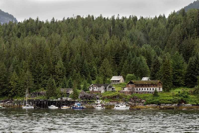 Butedale wharf and ruins of Butedale cannery, Princess Royal Island, mid-coast British Columbia
