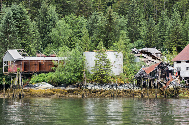Remains of Butedale cannery, storage tanks and furnaces, Butedale, Princess Royal Island, British Columbia