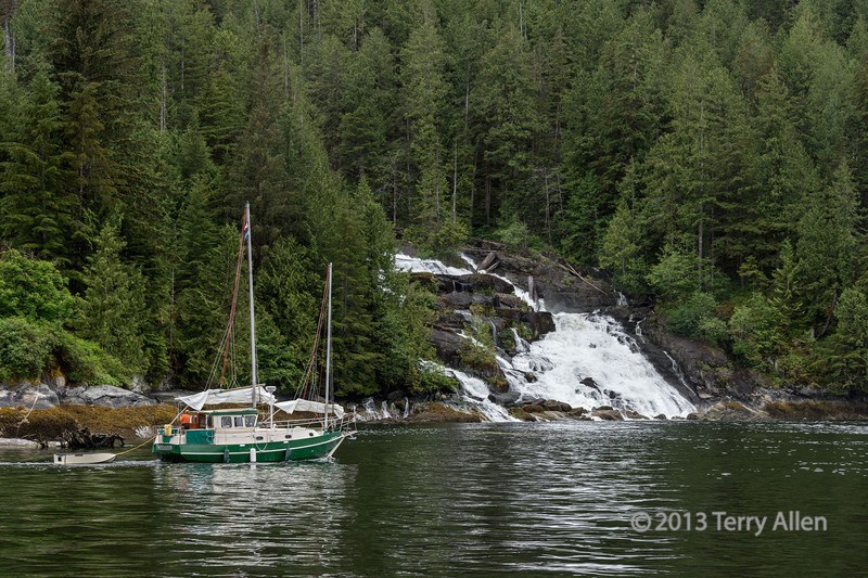 "Sail boat passing Butedale falls, Princess Royal Island,  mid-coast British Columbia (best large)<br /> <br /> Once summer comes, and the weather settles, the fjords and islands off the Inside Passage to Alaska are a popular boating destination for sailors from the lower Mainland of BC and the USA. Indeed, with the exception of two roads that reach the coast from the interior of BC at Bella Coola and Prince Rupert, most of the coast has no road access and the approximately 12000 square miles (32,000 square km) of this amazing wilderness can only be reached by boat.<br /> <br /> Other photos of this part of the Inside Passage, including another couple of big waterfalls, can be seen here: <a href=""http://goo.gl/ZEHI4b"">http://goo.gl/ZEHI4b</a><br /> <br /> 30/10/13  <a href=""http://www.allenfotowild.com"">http://www.allenfotowild.com</a>"