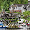 Butedale wharf and old residential buildings, Butedale, Princess Royal Island, British Columbia