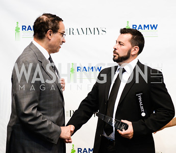 Mayor Vincent Gray, Chef of the Year Haidar Karoum,  2014 RAMMY Awards at the Walter E. Washington Convention Center, Sunday, June 22nd, 2014.  Photo by Ben Droz.