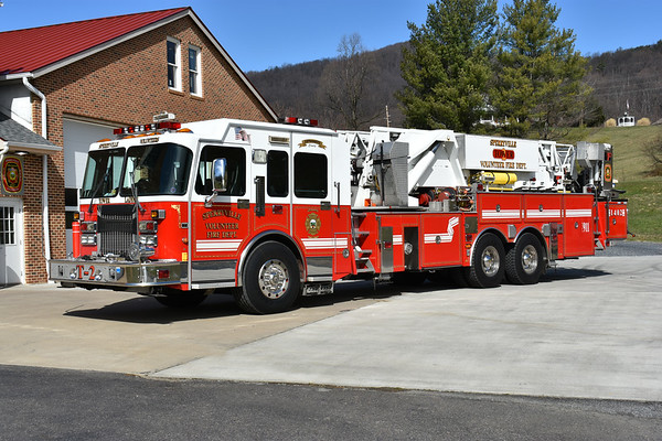 Tower 2 from Sperryville, Virginia was placed into service in September of 2018 after purchasing it in August of 2017.  It is a 1999 Spartan Gladiator/LTI with a 93'.  Serial number 9805620.  This truck was originally delivered to the Manhasset-Lakeville Fire District in New York where it ran as Tower Ladder 8744.  It replaced Sperryville's 1971 Mack CF 75' Aerialscope which was sold to a collector in Pennsylvania.  Tower 2 is Rappahannock County's only ladder truck.