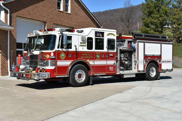 Rescue Engine 2 from Sperryville is this 1995 Pierce Lance top mount 1500/500 with Pierce job number E9253.  It was originally delivered to the Oceanside Fire District in Long Island, New York.  Received by Sperryville in 2007.