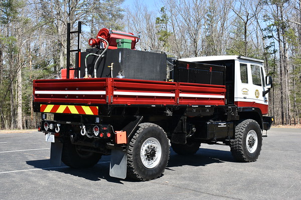 """Castleton, VA Rappahannock County SERV 1405 1993 Stewart & Stevenson Services M1078 2.5 ton 2018 FD (Paul Komar) 300/500/15 Ex- US Army.  Received in 2017 Ft. Bragg, NC via VA Forestry.  From 1993-2017, it obtained 11,288 miles.  Primary uses: Outside fires.  Booster reel, 200 ft. hose, water cans, back packs, rakes, shovels, blower, chain saw Electric crane – 2000 pounds.  Primary purpose is to lift a stokes basket, also carried on the truck.  Usage for remote areas and heavy snow. Snow and water – 46"""" tires, travel in 48"""" water, snow plow. Miscellaneous – 125' cable on winch, another Stewart & Stevenson truck obtained for parts In service 3/29/2018"""