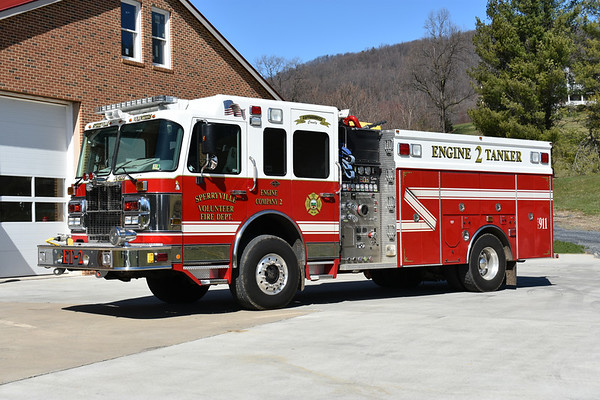 Engine-Tanker 2 from Sperryville is this impressive 2005 Spartan Gladiator 4x4/2006 4-Guys with 1500/1500/30 and 4-Guys number F2374.