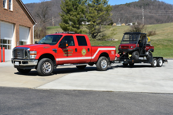 Utility 2 and RTV 2 (Rough Terrain Vehicle) from Sperryville, Virginia.  U2 is a 2010 Ford F350 towing a 2011 Kawasaki Mule 4010 outfitted by the fire department with a 75 gwt fire and EMS skid.