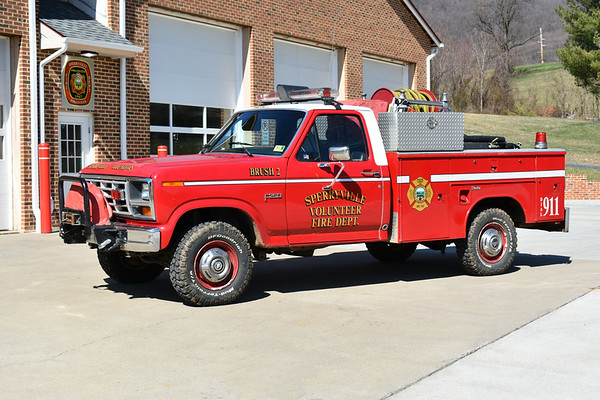 Sperryville, Virginia Brush 2, a 1983 Ford F250/Reading/Crewshaw that was purchased from Hartwood, Virginia in Stafford County.  In 2009, Brush 2 received a 1988 Wajax-Pacific 200 gwt skid unit from Fairfax County.