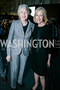 Diana Walker, Judy Woodruff. Photo by Alfredo Flores. Reception and presentation of Renee Fleming portrait. National Portrait Gallery. June 4, 2014