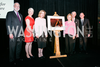 Smithsonian Secretary G.Wayne Clough, National Portrait Gallery Director Kim Sajet , Renée Fleming, Performer, Vicki Sant, Roger Sant, Michael Kaiser. Photo by Alfredo Flores. Reception and presentation of Renée Fleming portrait. National Portrait Gallery. June 4, 2014