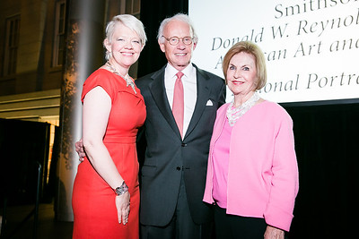 Kim Sajet, Roger Sant, Vicki Sant. Photo by Alfredo Flores. Reception and presentation of Renee Fleming portrait. National Portrait Gallery. June 4, 2014