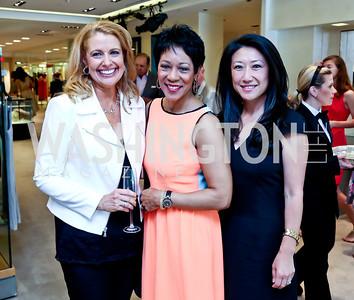 Rebecca Cooper, Andrea Roane, Eun Yang. Photo by Tony Powell. Reed Krakoff Fashion Show and Brunch. Saks Jandel. May 18, 2014