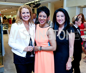 Rebecca Cooper, Andrea Roane, Eun Yang. Photo by Tony Powell. Reed Krakoff Fashion Show and Brunch. Saks Jandel. May 18, 2014
