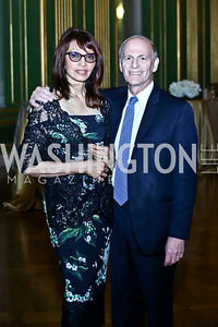 Diplomatic Chairs Rohini Talalla and Jeffrey Bader. Photo by Tony Powell. Refugees International 35th Annual Dinner. Mellon Auditorium. April 30, 2014