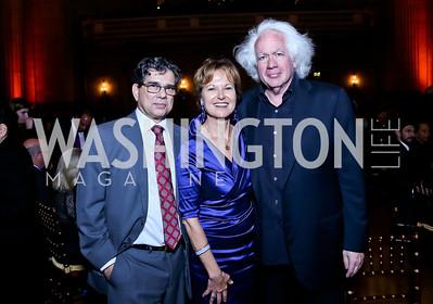 Michel Gabaudan, Kati Marton, Leon Wieseltier. Photo by Tony Powell. Refugees International 35th Annual Dinner. Mellon Auditorium. April 30, 2014