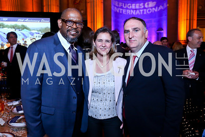 Forest Whitaker, Patricia Fernandez, Jose Andres. Photo by Tony Powell. Refugees International 35th Annual Dinner. Mellon Auditorium. April 30, 2014