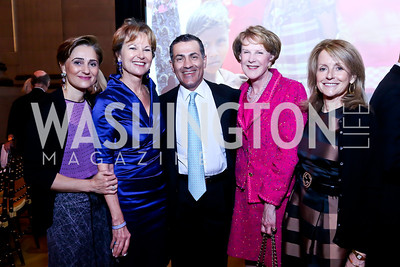 Darya Nasr, Kati Marton, Vali Nasr, Margaret Warner, Maureen White. Photo by Tony Powell. Refugees International 35th Annual Dinner. Mellon Auditorium. April 30, 2014