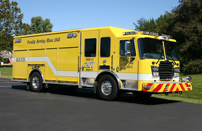 Rescue Engine 207 is a 2012 KME Predator, 1500/750/25, sn-8548.