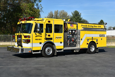 Grottoes, VA (Rockingham County) Engine 203 is a 2003 Sutphen Monarch with a 1500/1000/20 and s/n HS-3712.