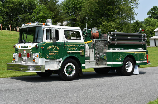 Privately owned in Maryland is this 1972 Mack CF600 1000/750 with serial number 1484.  It was originally delivered to Bridgewater, Virginia where it was painted red and white and ran as Engine 109.  It was later sold to nearby Clover Hill, Virginia where it was repainted to green and white.  Photographed at the June 2019 Chesapeake Antique Fire Apparatus Association spring muster in Pleasant Valley, Maryland.