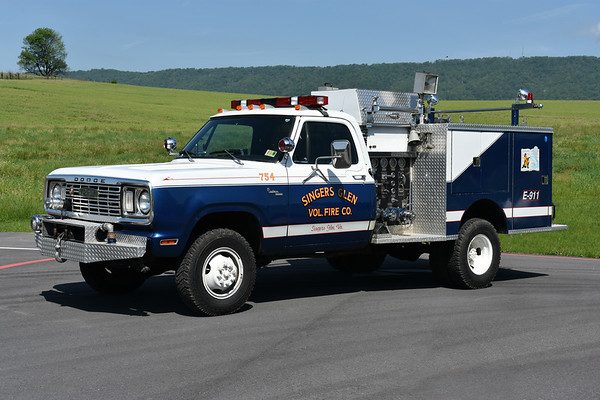 Ex- Attack 754 from Singers Glen was replaced in 2018 with the delivery of a new truck.  This 1978 Dodge Custom 400 4WD/Pierce was originally delivered to Glen Rock, Pennsylvania.  It was sold in 1990 to Brunswick, Maryland, painted red and white.  In 1996, Singers Glen received it and had it painted in the blue and white.  400/250 with Pierce job number 7521-D.