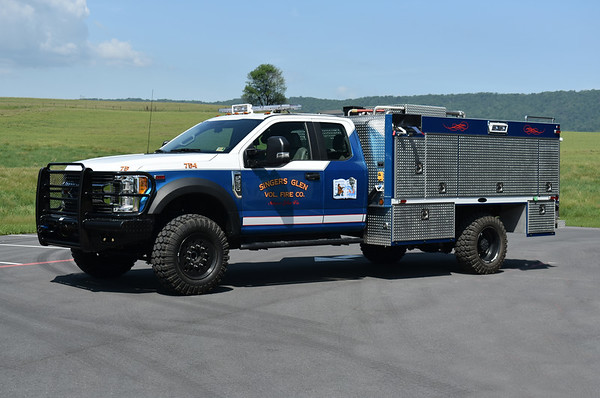 Attack 754 from Singers Glen, Virginia in Rockingham County.  It is a 2017 Ford F550 4x4/2018 4-Guys with a 750/300/25 with a CAF's system and 4-Guys number F-3105.