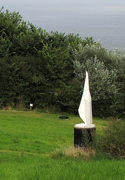 The path near Coverack has been diverted due to a cliff fall and now passes through this exhibition of sculptures by Terence Coventry.