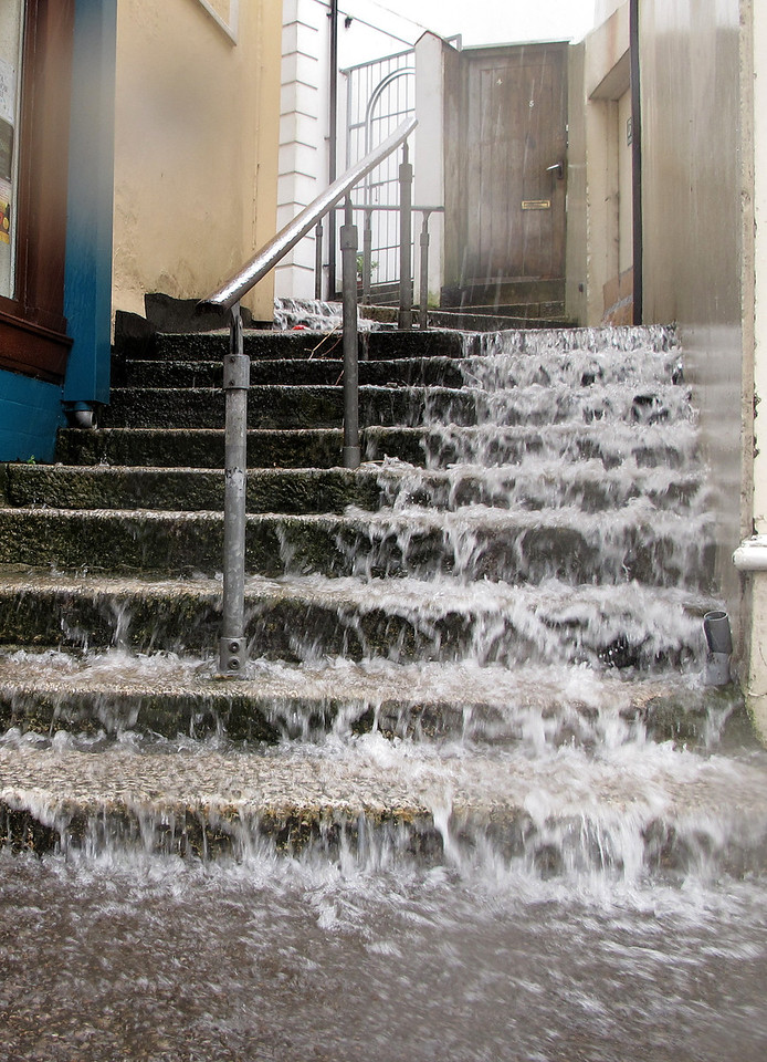 """The famous Cornish """"liquid sunshine""""?<br /> Just as Falmouth town proper was reached the heavens opened and a torrential downpour of tropical proportions started, lasting for nearly an hour, flooding parts of the town....."""
