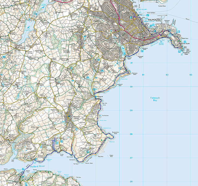 The recorded route from Helford to Falmouth