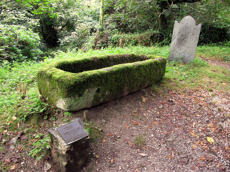 A medieval coffin in the graveyard outside Place Church.