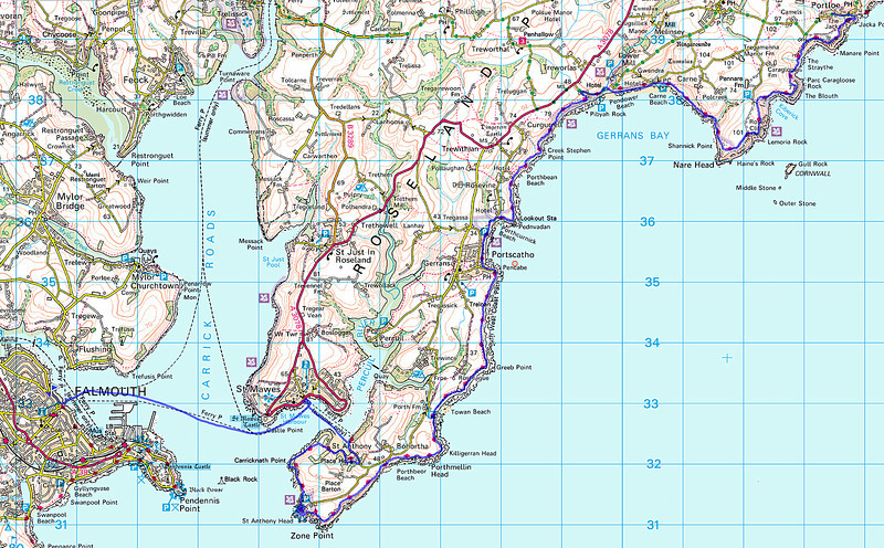 A dash to catch the first ferry to St Mawes, and then another boat to Place to continue the walk.   This is the route from my phone.