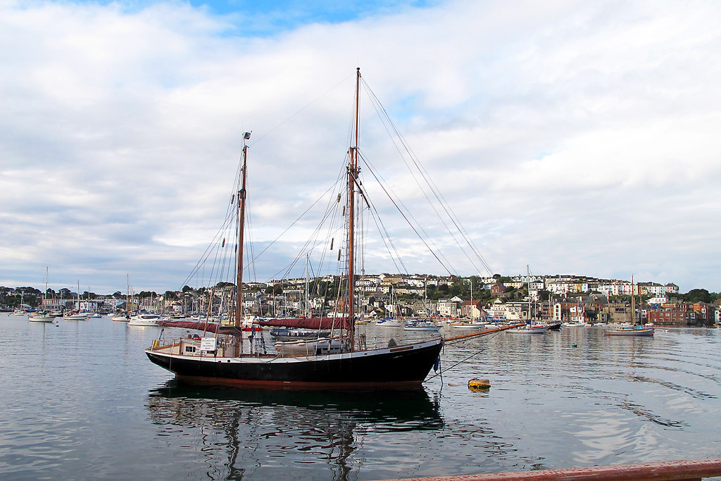 One of the picturesque boats in Carrick Roads (Falmouth Harbour).